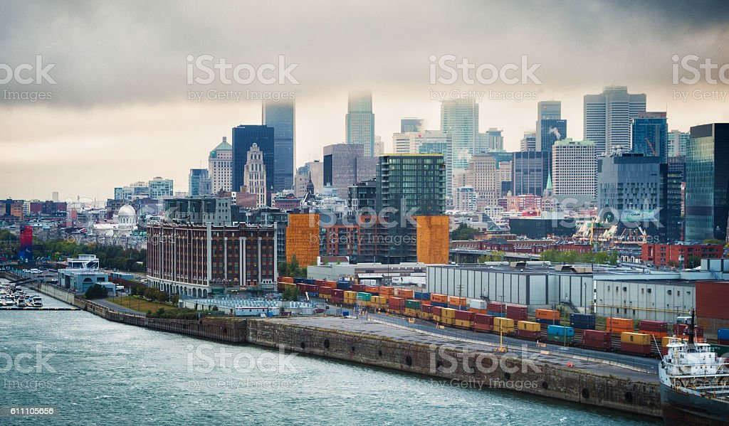 Downtown Montreal skyline on stormy day stock photo