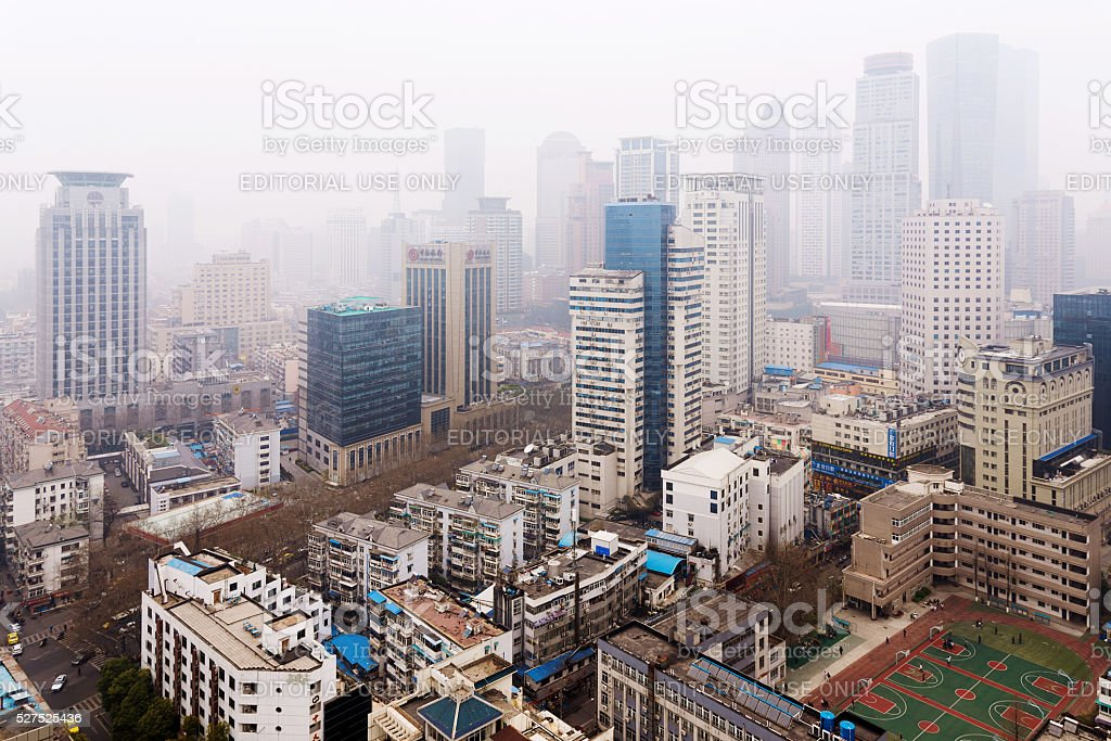 downtown Nanjing with polluted weather stock photo