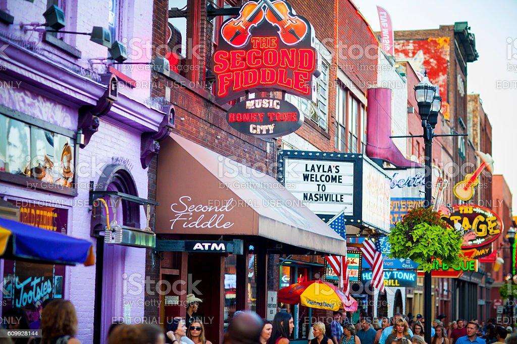 Downtown Nashville music entertainment establishments stock photo
