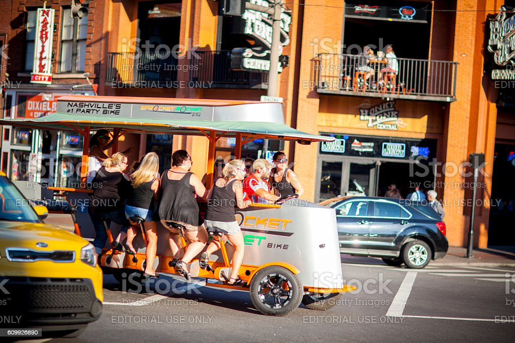 Downtown Nashville party bike in Lower Broadway District stock photo