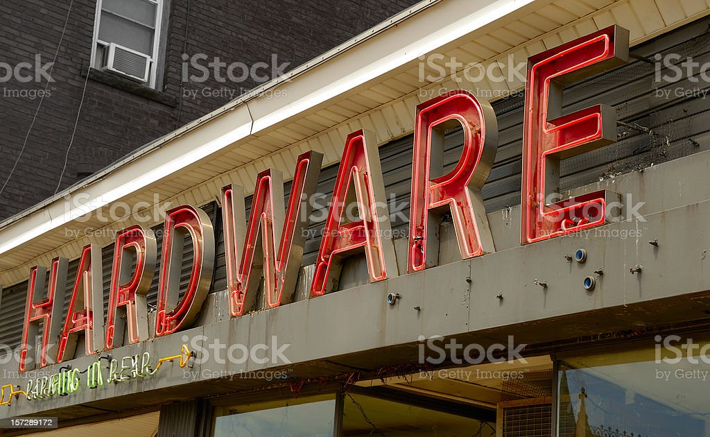 Downtown Neon Hardware Store Sign stock photo
