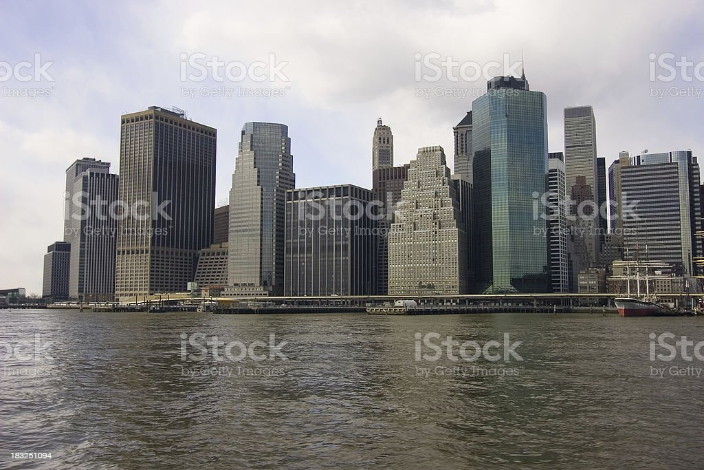 Downtown New York City from East river royalty-free stock photo