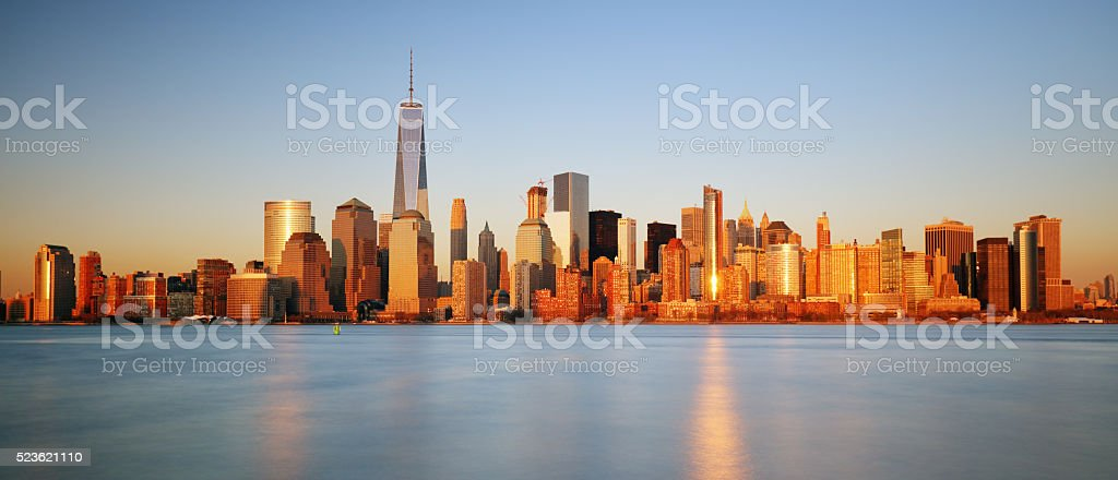 Downtown New York skyline panorama from Liberty State park, USA stock photo