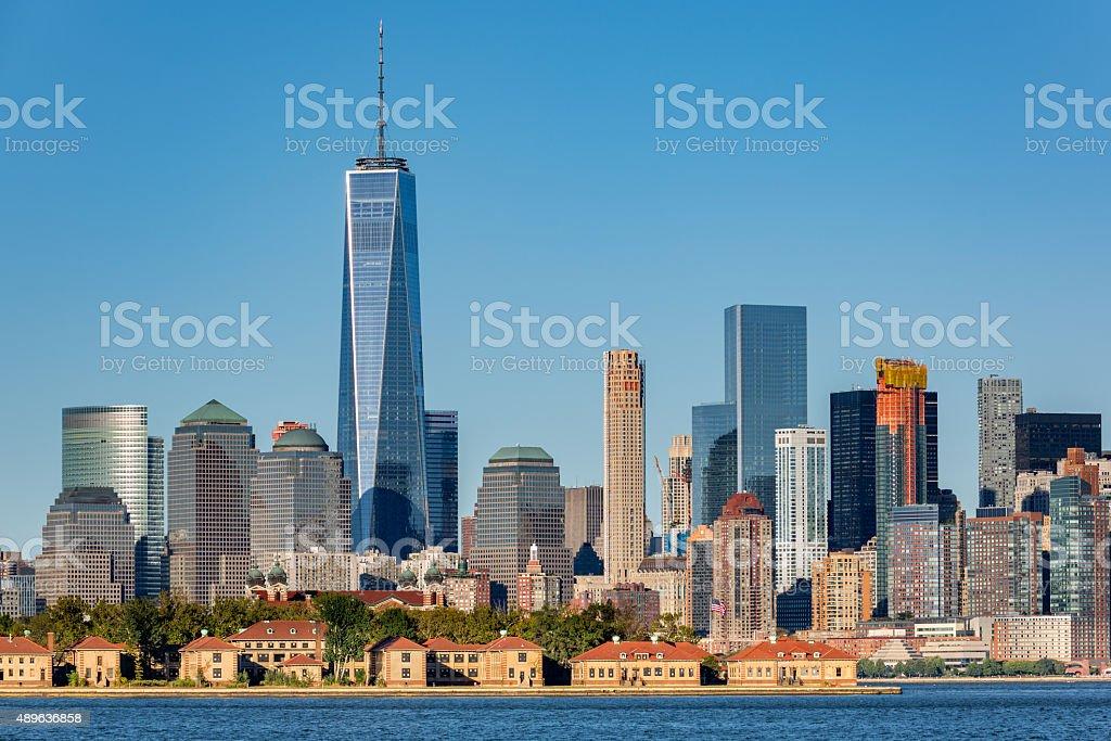 Downtown New York skyline stock photo