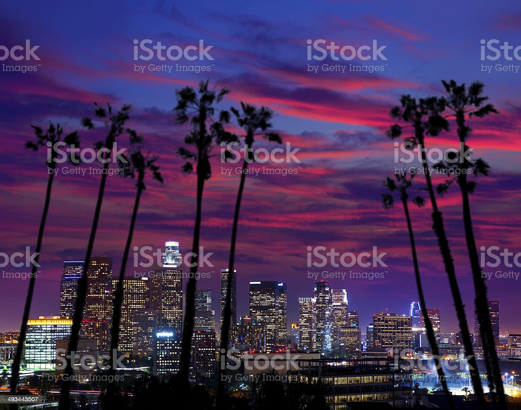 Downtown LA night Los Angeles sunset skyline California stock photo