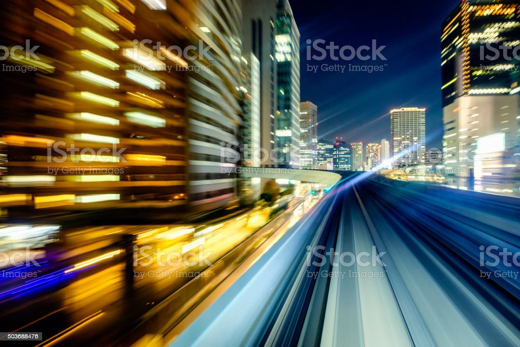 Downtown Night Train in Tokyo Japan stock photo