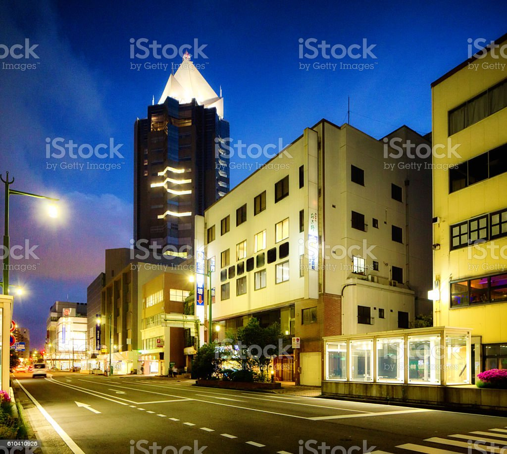 Downtown Niigata Japan night view with illuminated skyscraper stock photo