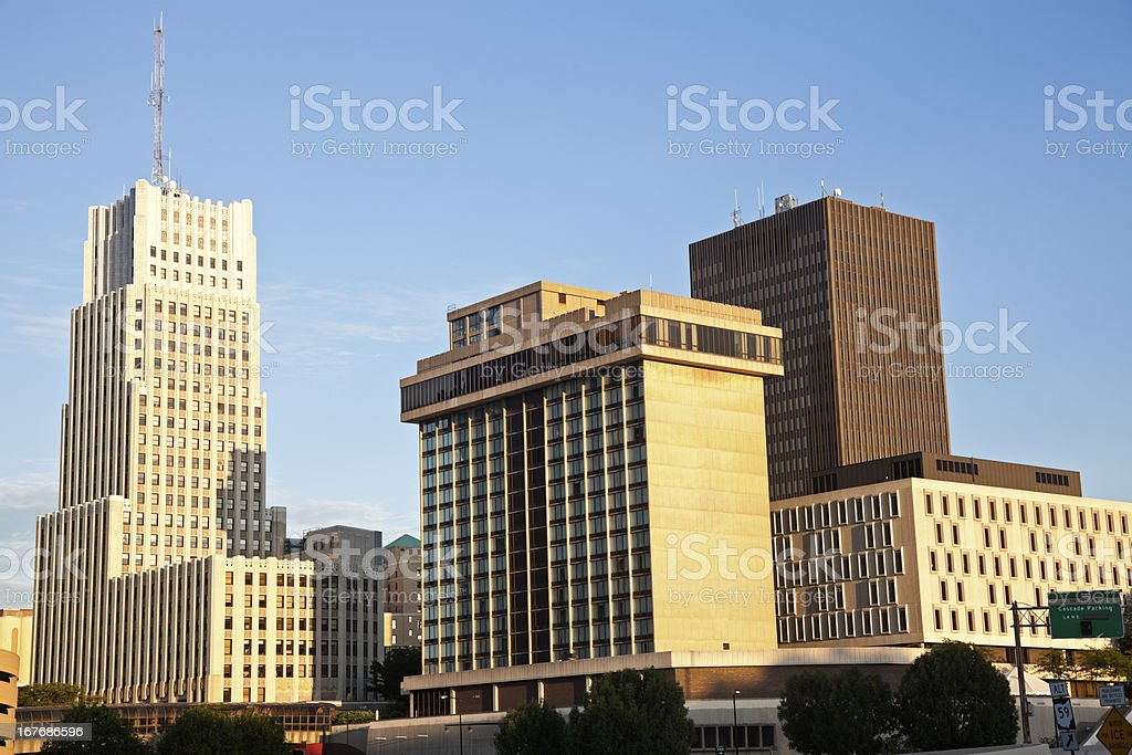 Downtown of Akron architecture stock photo