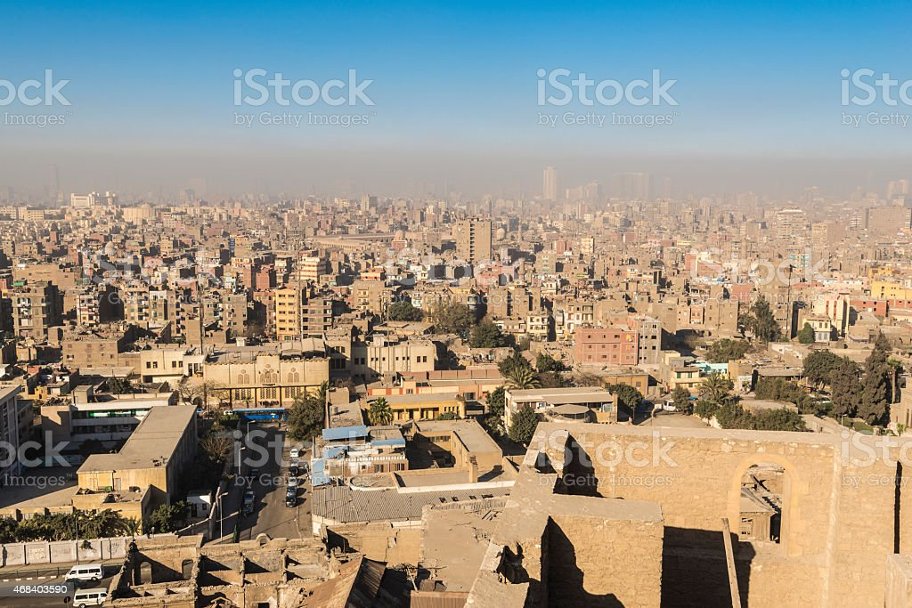 Downtown of Cairo seen from the Saladin Citadel (Egypt) stock photo