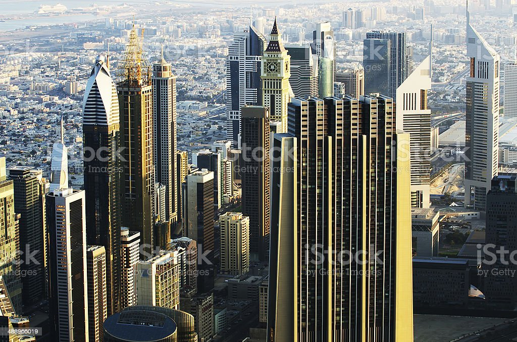 Downtown of Dubai (United Arab Emirates) in the morning stock photo