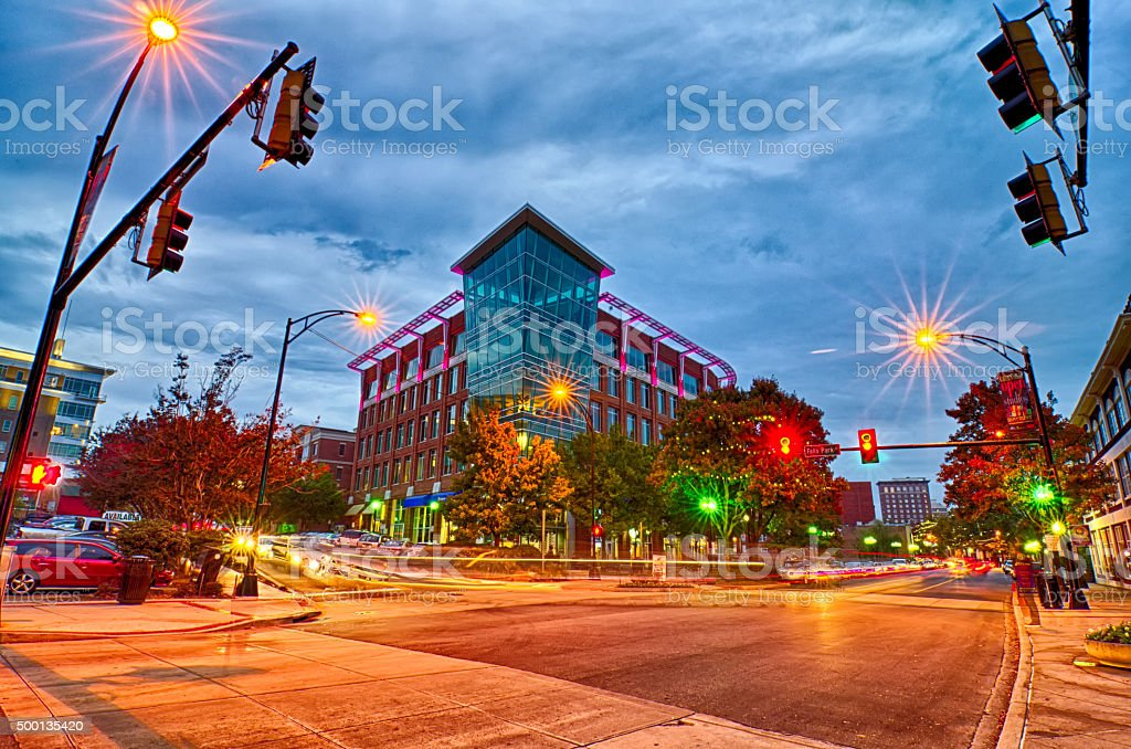 downtown of greenville south carolina around falls park stock photo
