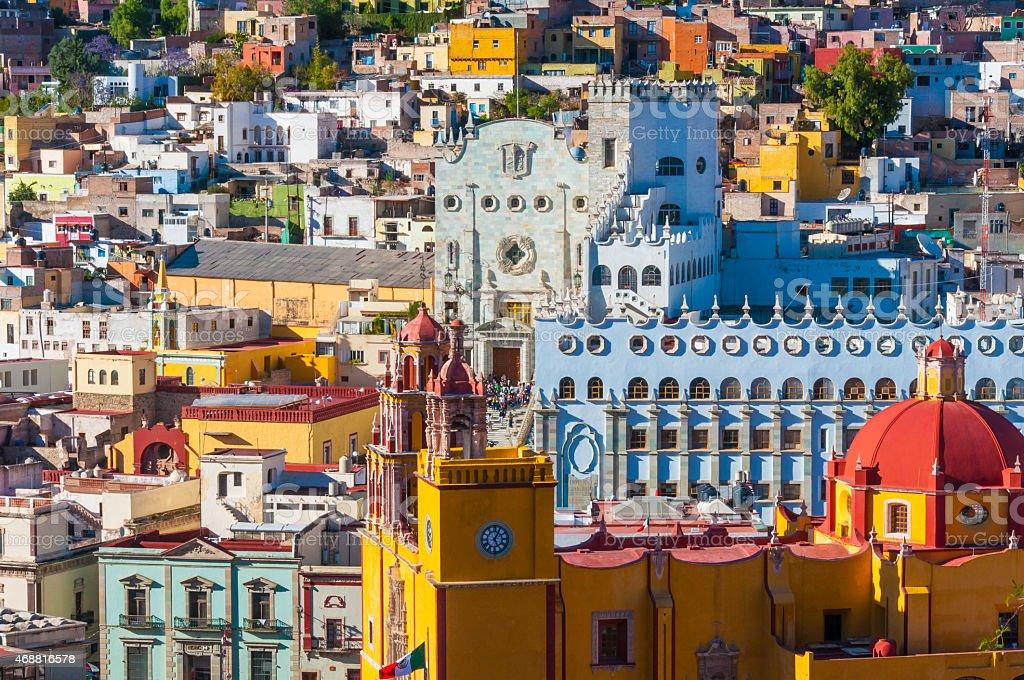 Downtown of Guanajuato from El Pipila monument (Mexico) stock photo