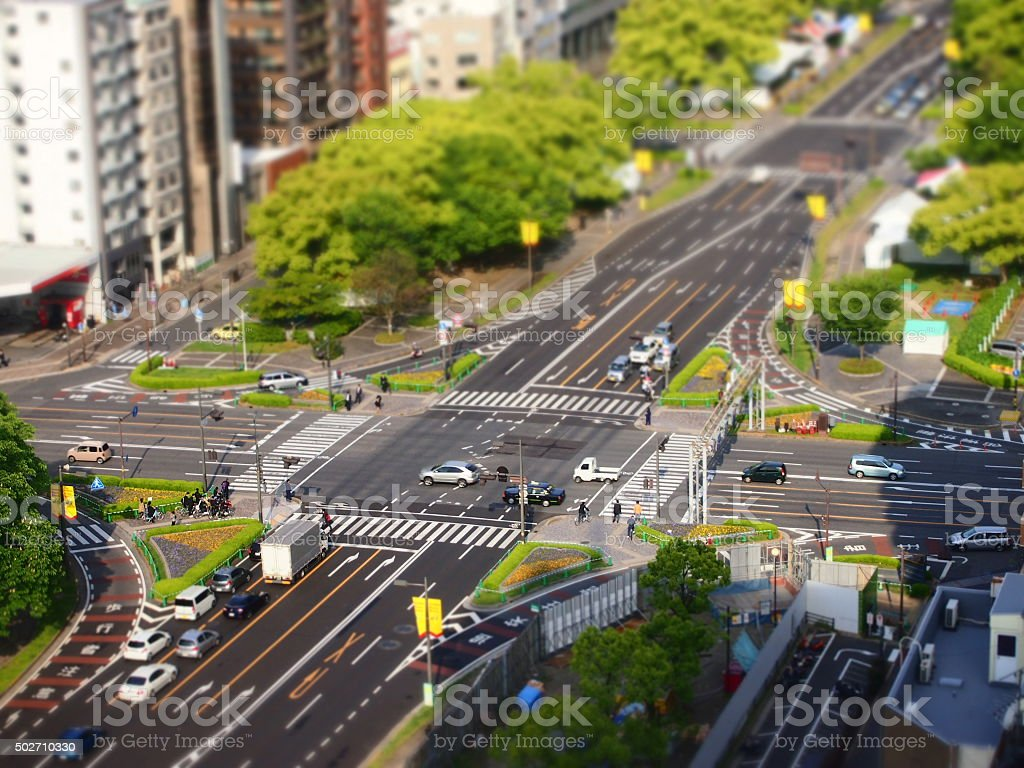Downtown of Hiroshima, Japan with Diorama Effect Applied stock photo
