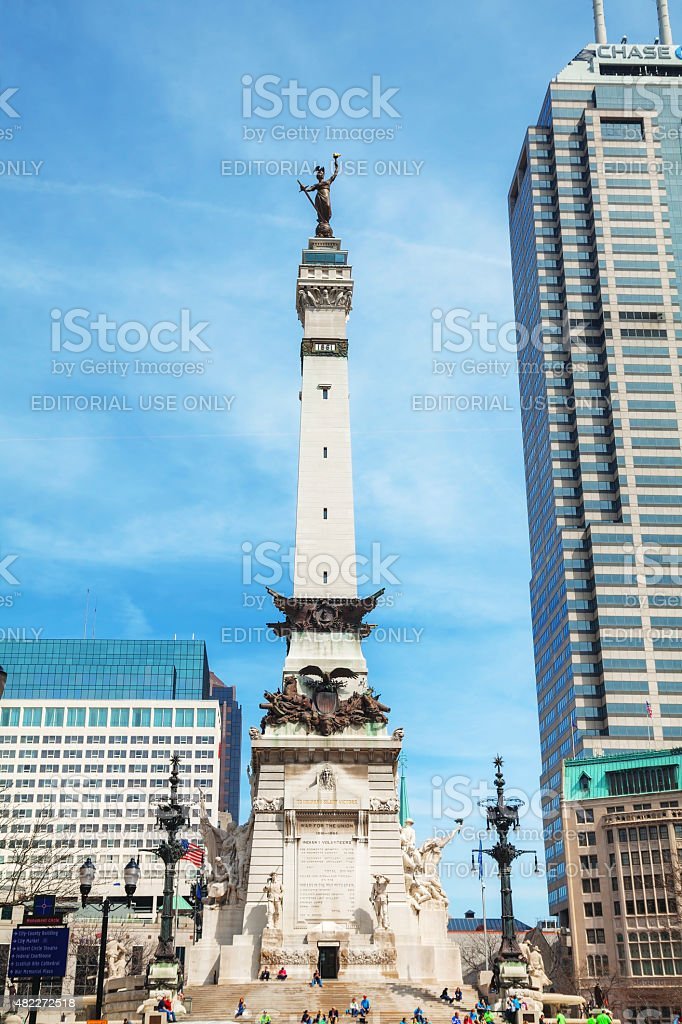 Downtown of Indianapolis with the Sailors and Soldiers Monument stock photo