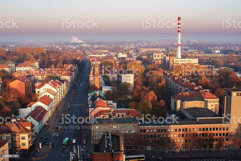 Downtown of Klaipeda, Lithuania in the autumn stock photo