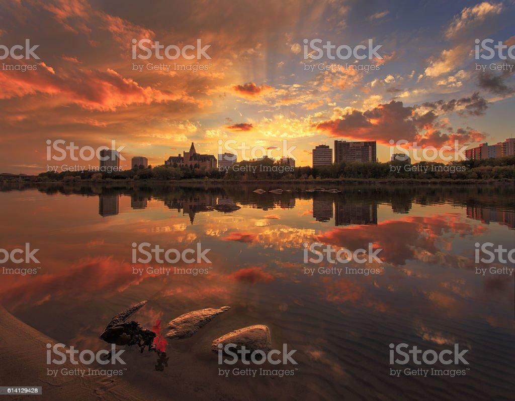 Downtown of Saskatoon stock photo