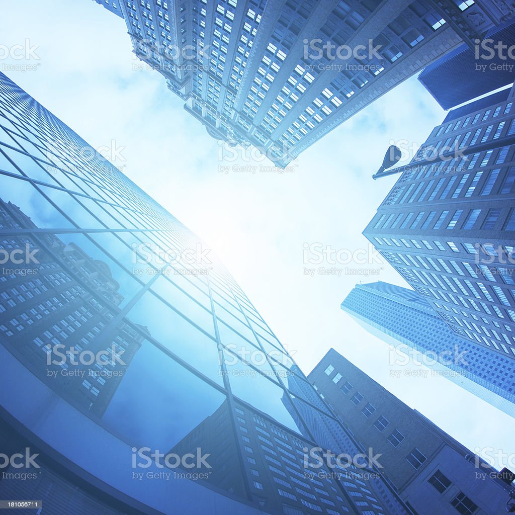 Downtown, Office Glass Skyscrapers stock photo
