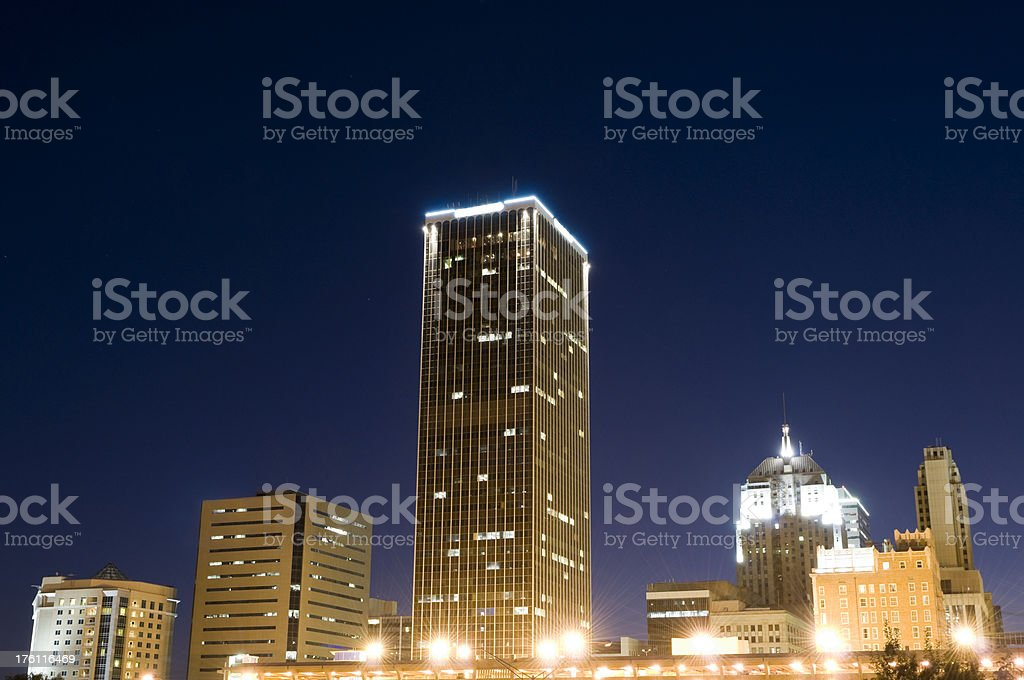 Downtown Oklahoma City at Dusk royalty-free stock photo