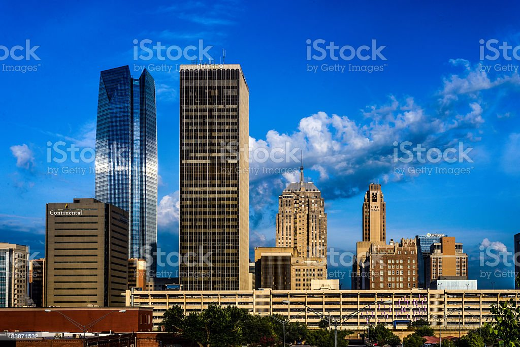 Downtown Oklahoma City From Bricktown stock photo