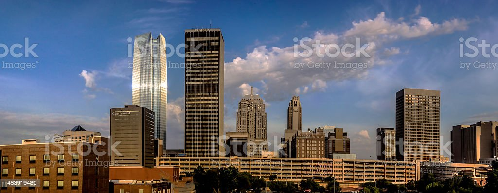 Downtown Oklahoma City From Bricktown  with small panorama stock photo