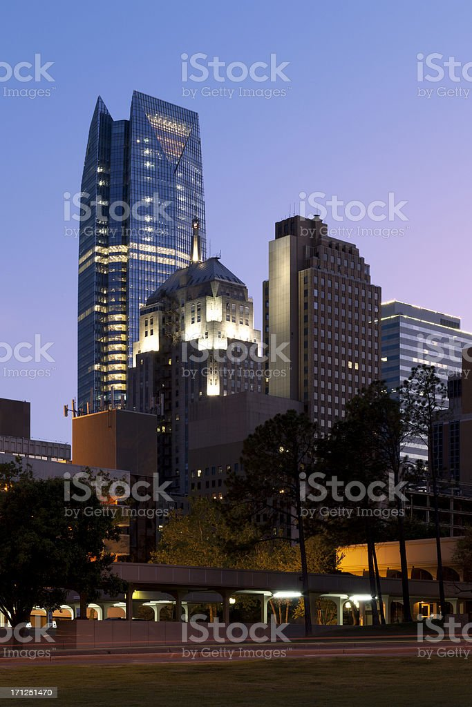 Downtown Oklahoma City in the sunset royalty-free stock photo