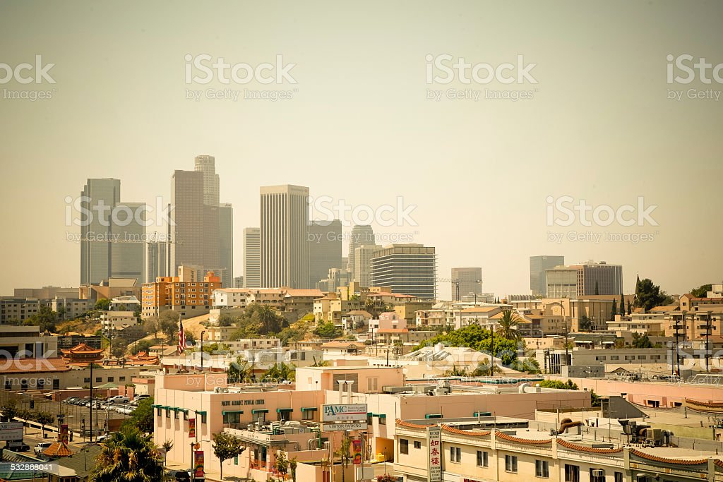 downtown LA on a smoggy summer day stock photo