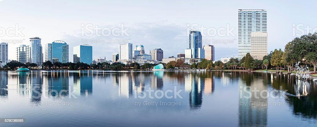 Downtown Orlando from Lake Eola stock photo