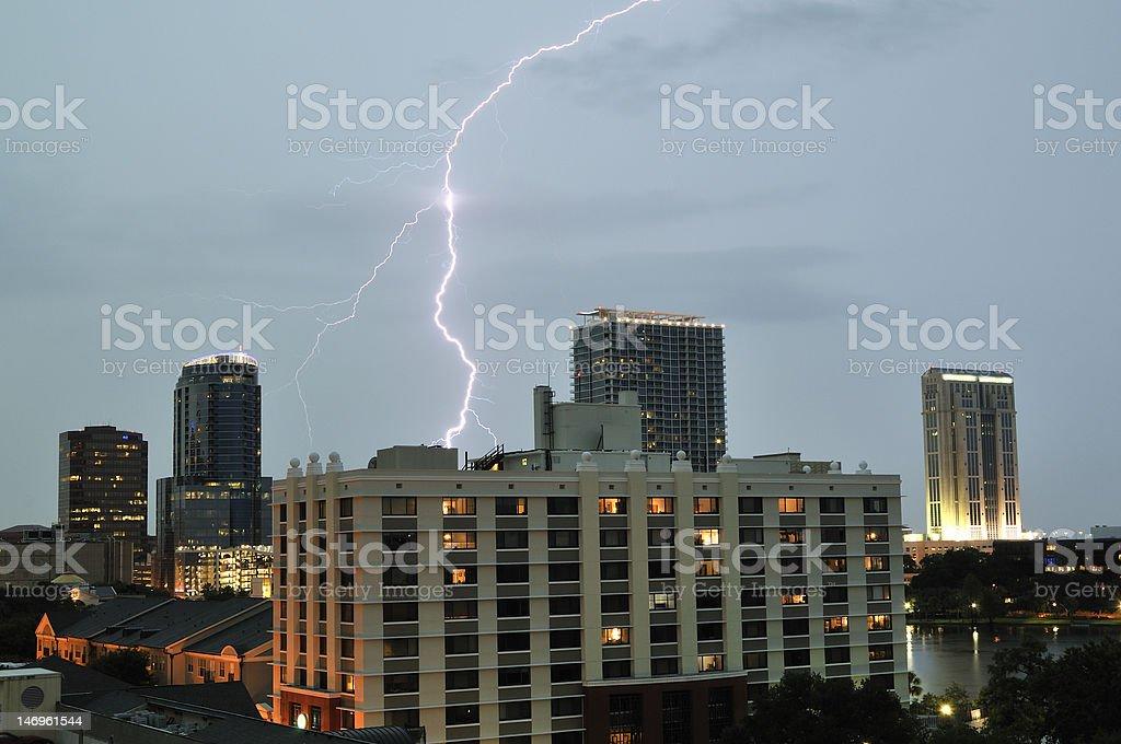 Downtown Orlando Lighning Strike stock photo