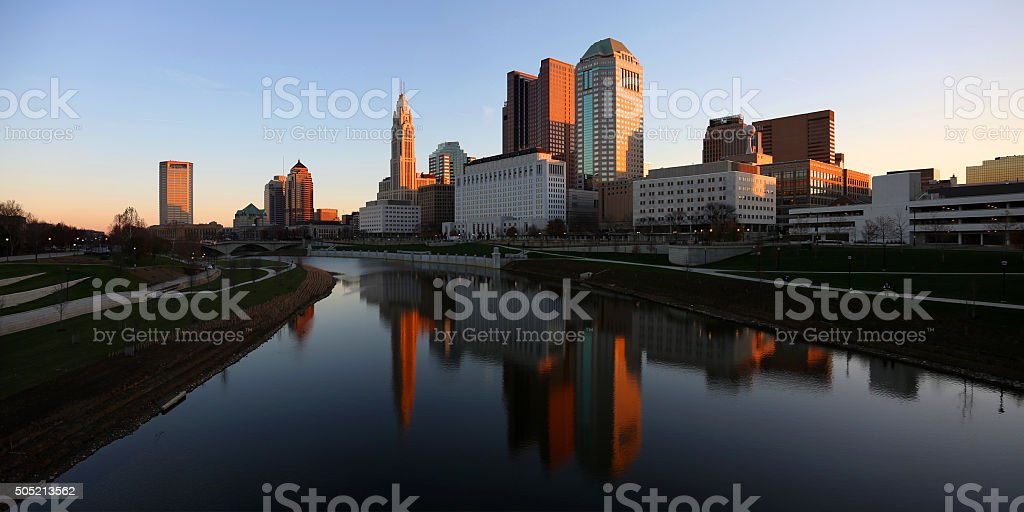 Downtown panoramic scene at dawn stock photo
