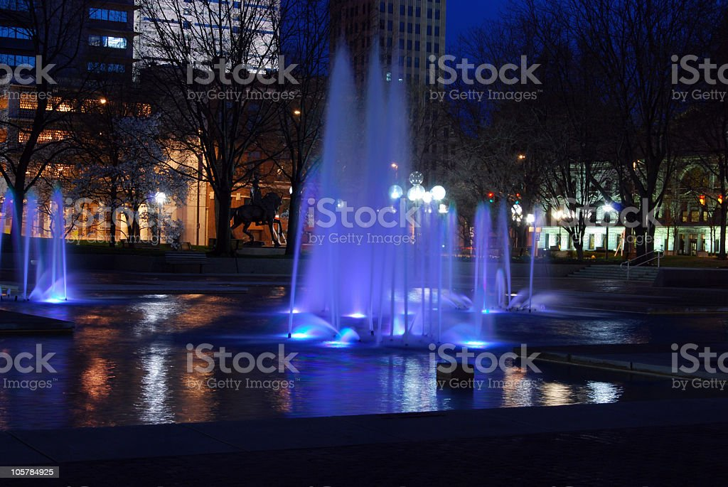 Downtown Park at Night stock photo