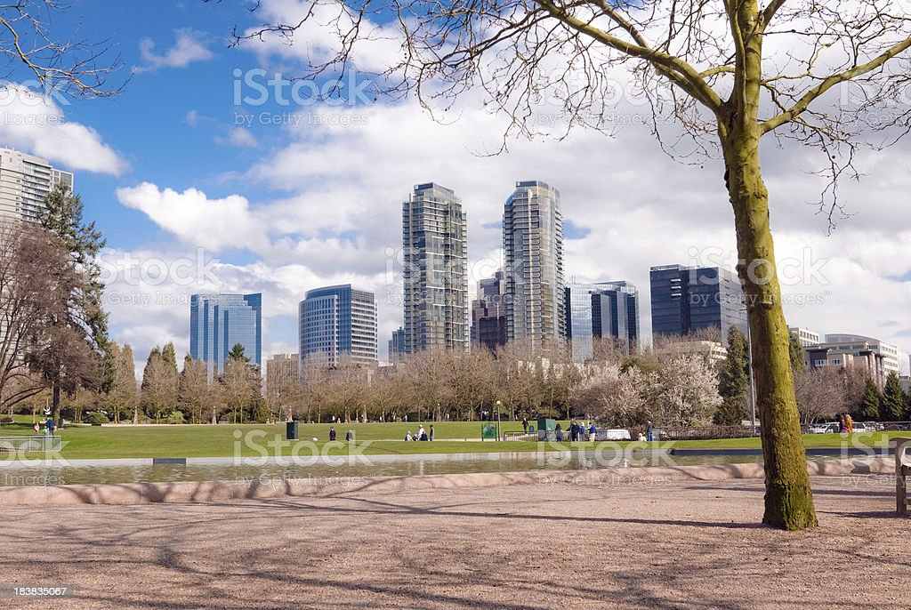 Downtown Park in Bellevue, WA with green lawn stock photo