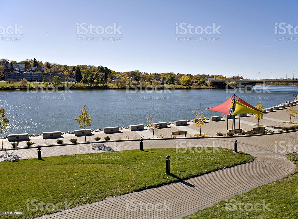 Downtown Park in Saskatoon stock photo