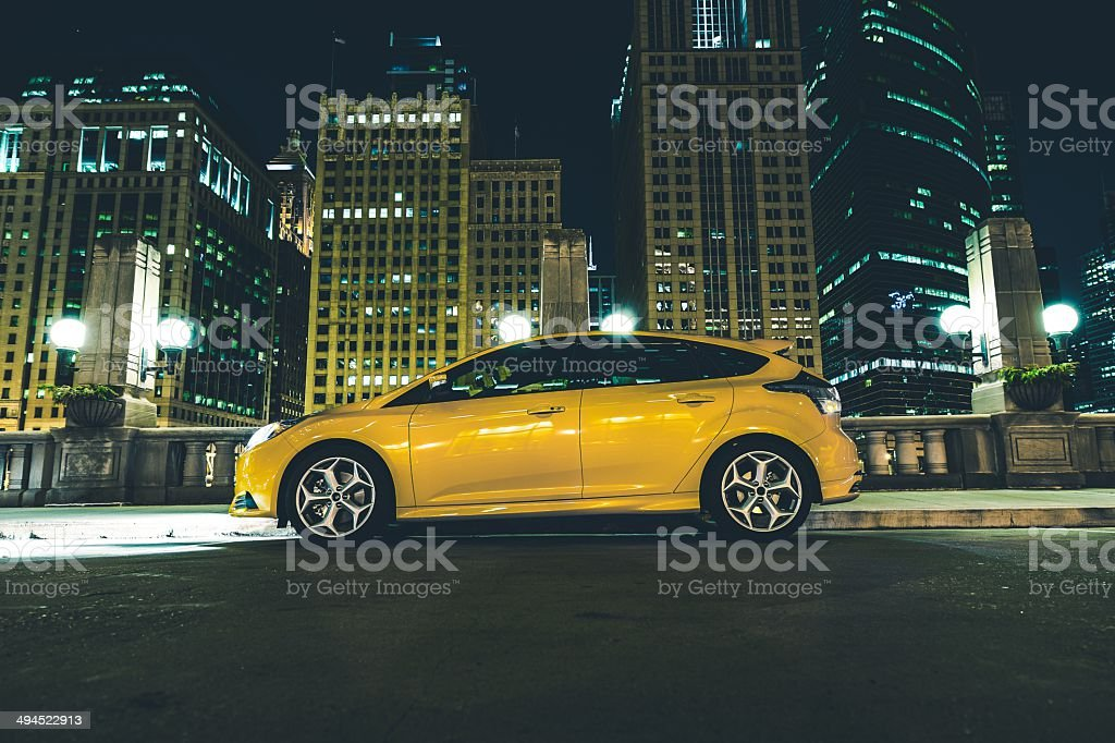 Downtown Parked Car stock photo