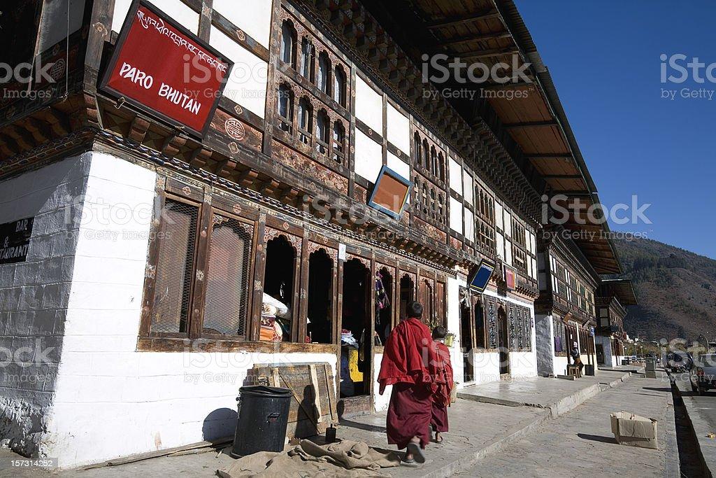 Downtown Paro in Bhutan stock photo