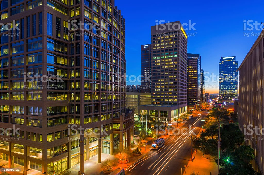 Downtown Phoenix at Dawn stock photo