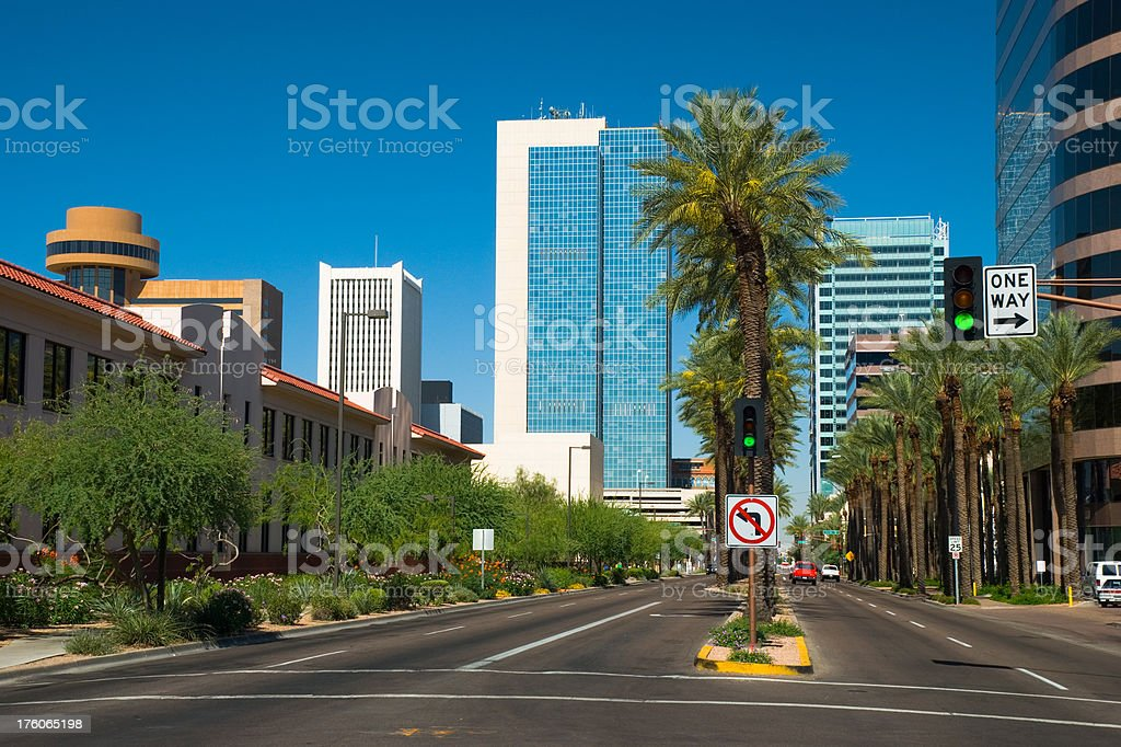 Downtown Phoenix street scene royalty-free stock photo