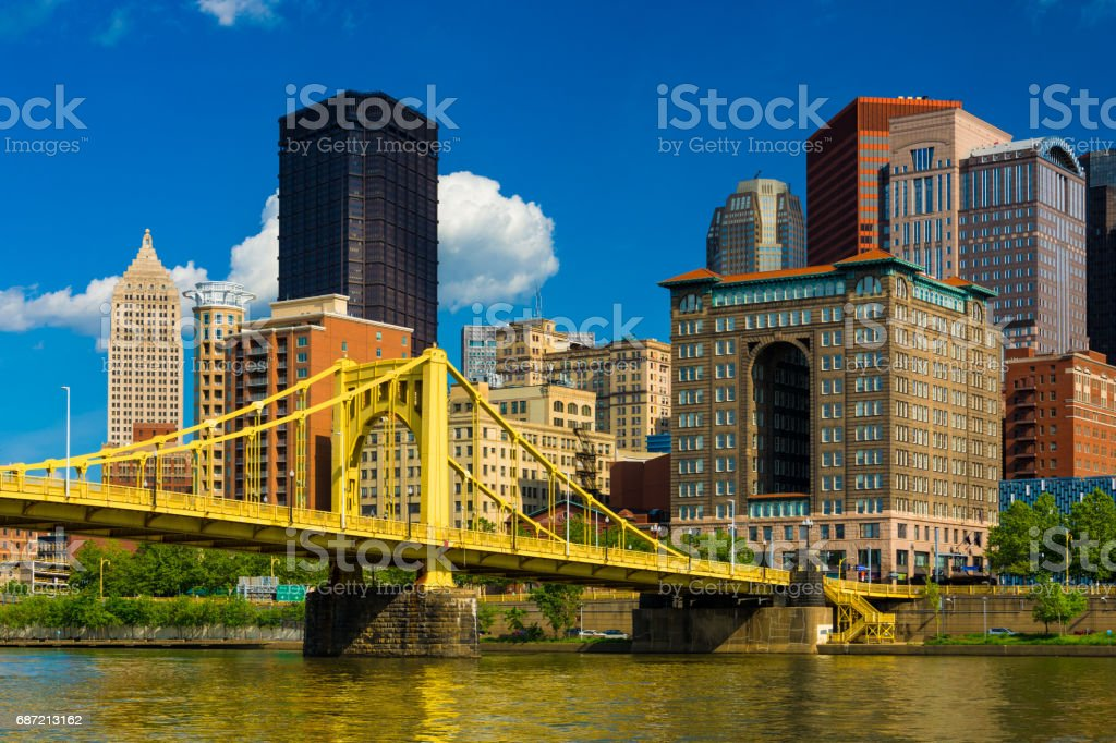 Downtown Pittsburgh Buildings with Bridge Closeup View stock photo