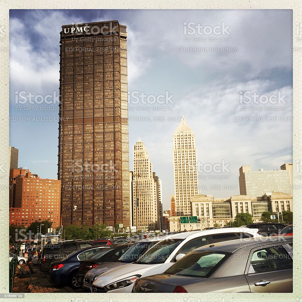 Downtown Pittsburgh from Centre Avenue stock photo