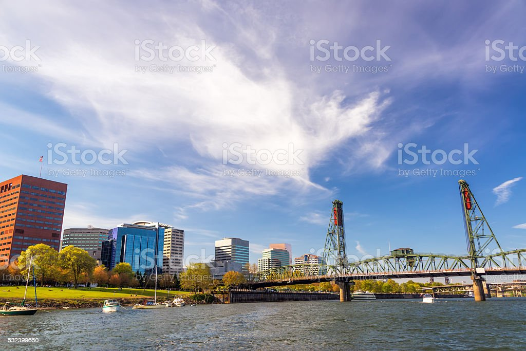 Downtown Portland and Hawthorne Bridge stock photo