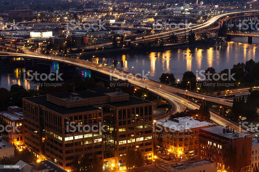 Downtown Portland at Night stock photo