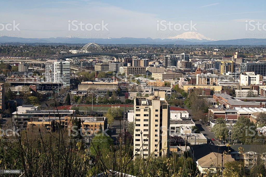Downtown Portland Buildings Structures Bridges Cascade Range Mt royalty-free stock photo