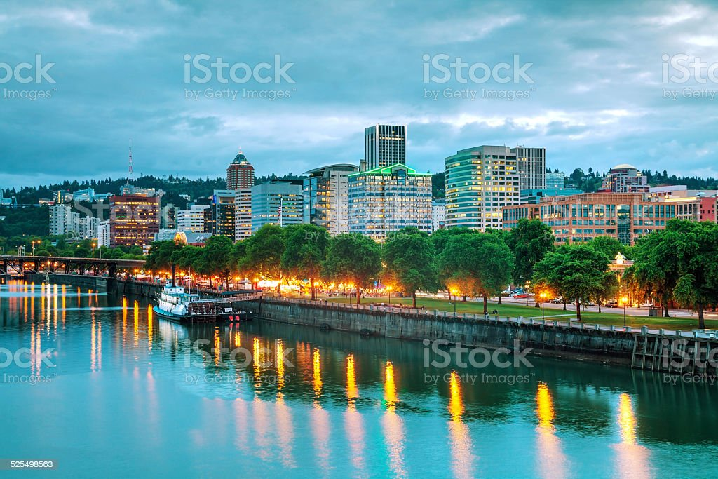 Downtown Portland cityscape at the night time stock photo