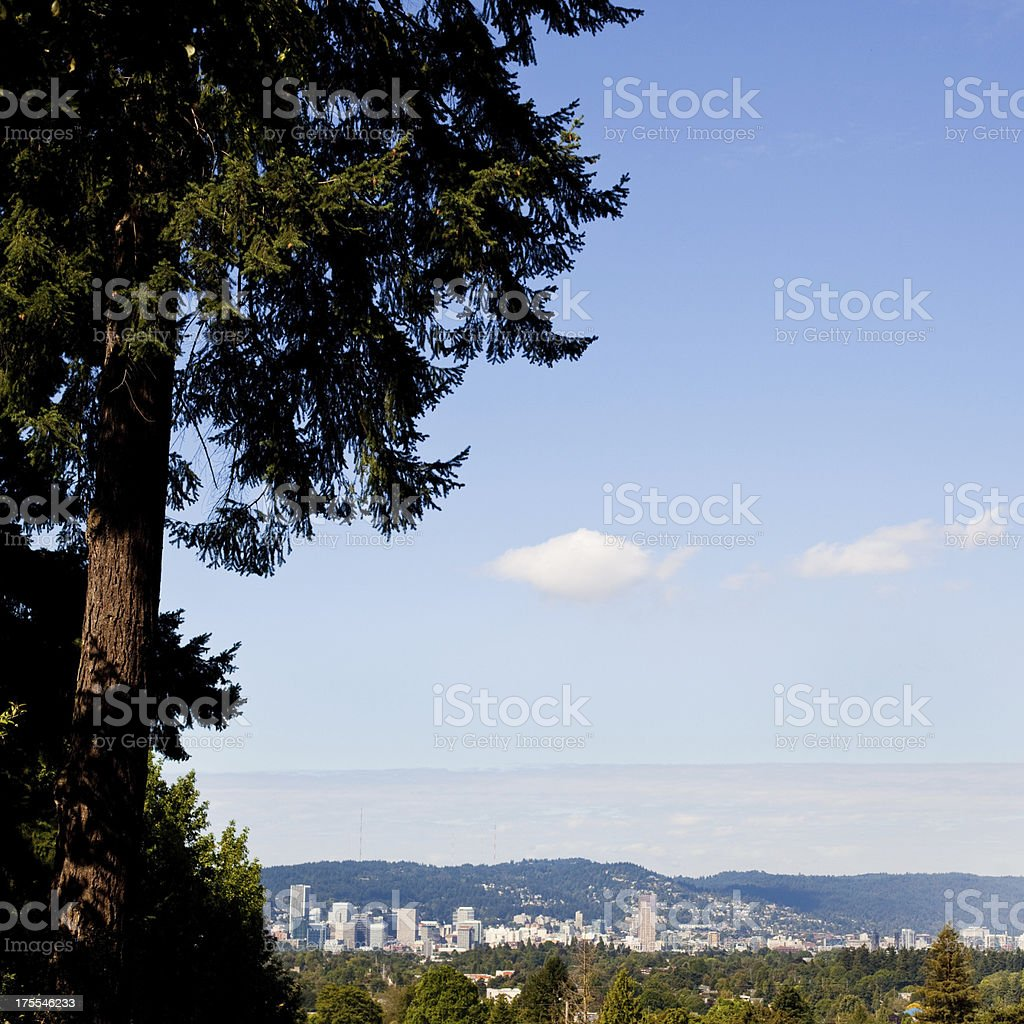 Downtown Portland Oregon and Sky As Seen from Mt Tabor stock photo