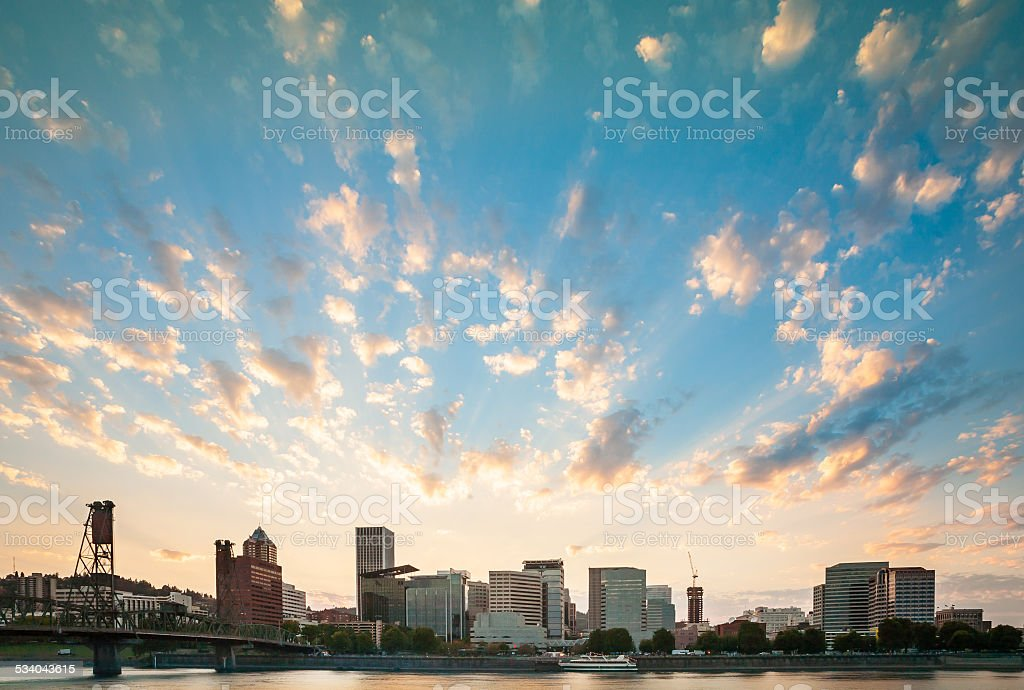 Downtown Portland, Oregon at Dusk stock photo