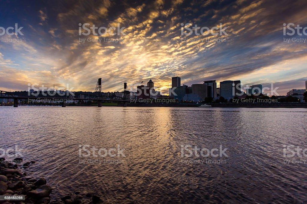 Downtown Portland Skyline at Sunset stock photo