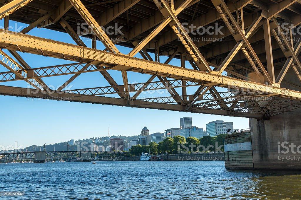Downtown Portland under Bridge stock photo