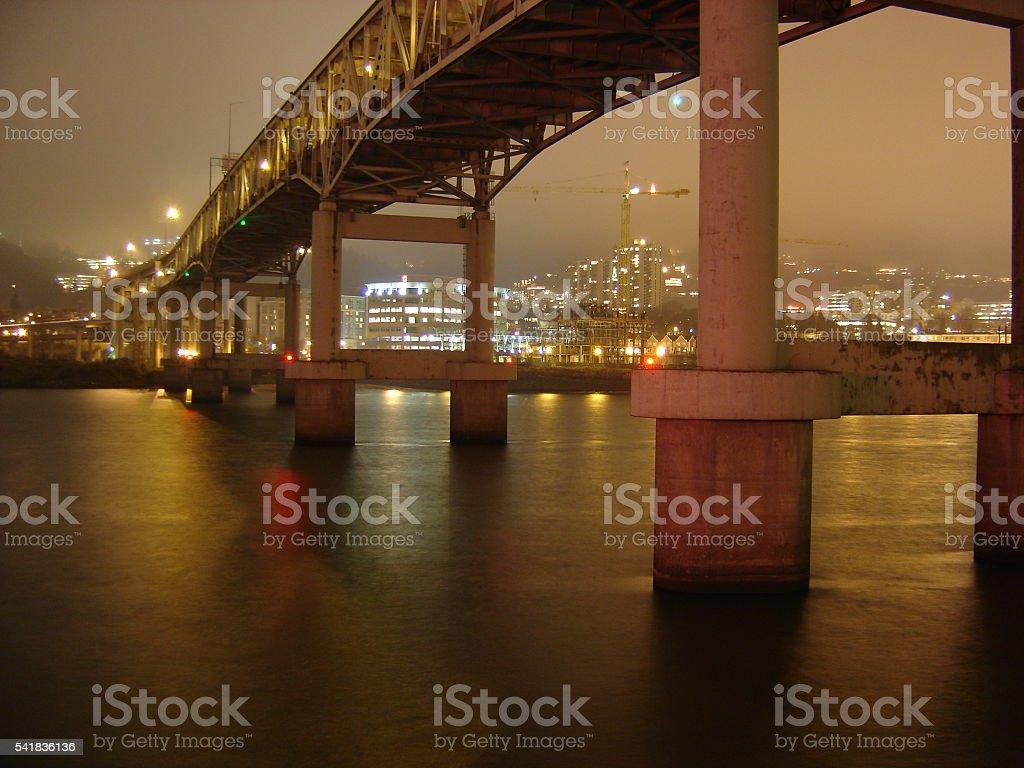 Downtown Portland under the Markham Bridge stock photo