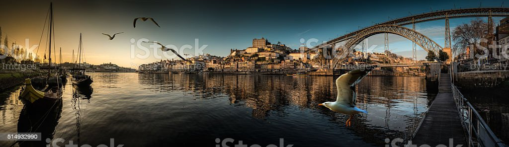 Downtown Porto seen from the river Douro at sunset stock photo