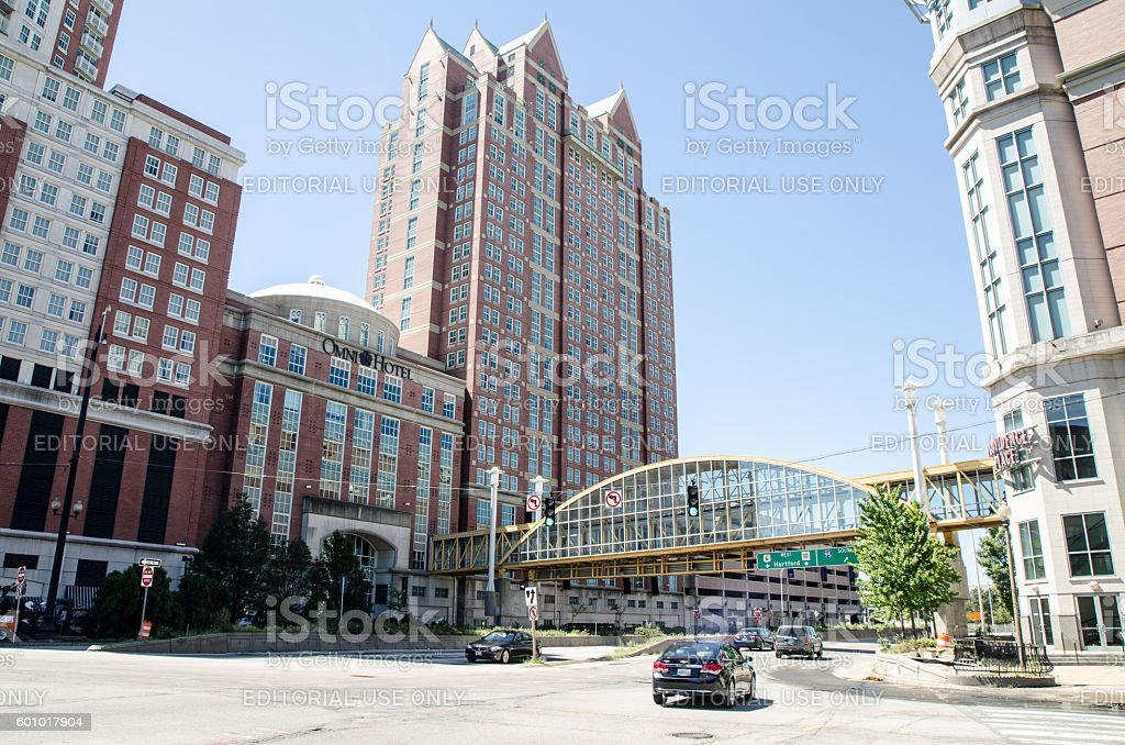 Downtown Providence with Omni Hotel and office buildings stock photo