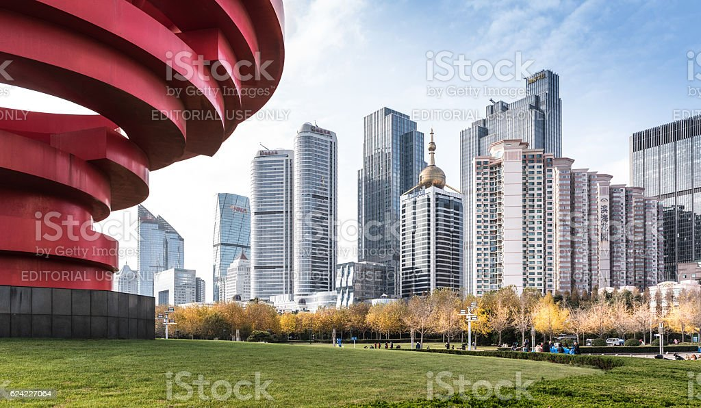 Downtown Qingdao seen from May Forth square stock photo